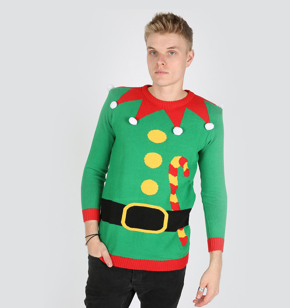 Knitted Christmas Elf Sweater Green Body - Ugly Christmas Sweaters ...