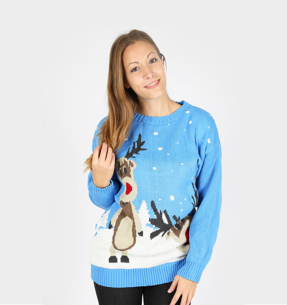 Ugly Reindeer Christmas Sweater Light Blue