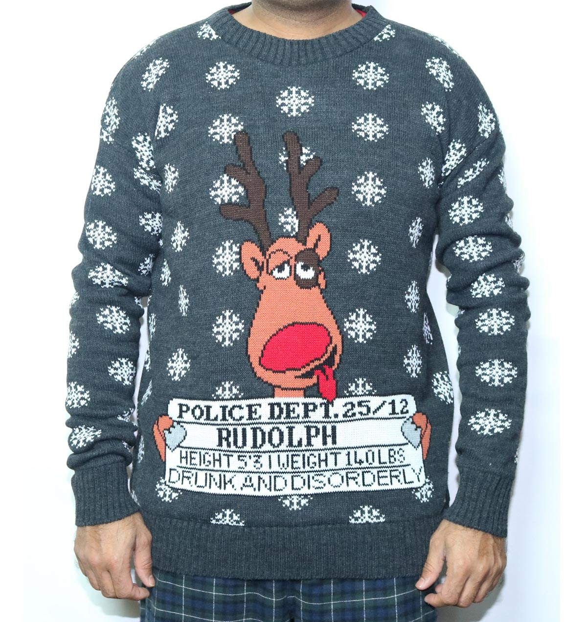 Drunk Jailed Rudolph Reindeer Christmas Sweater - Ugly Christmas ...