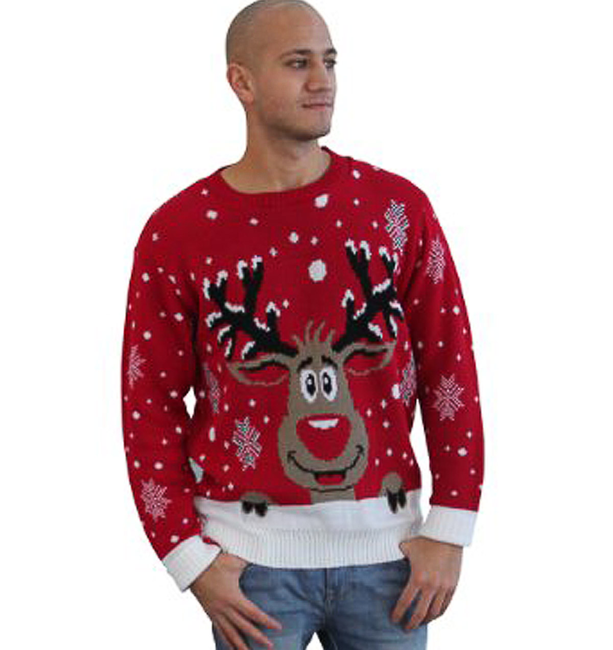 Rudolph Reindeer Christmas Sweater Maroon - Ugly Christmas ...