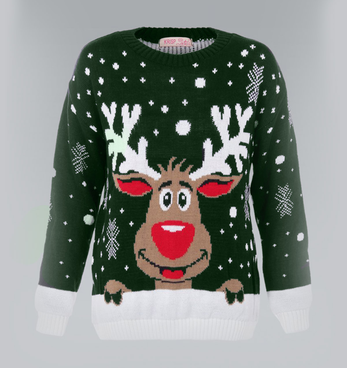 Rudolph Reindeer Christmas Sweater Green - Ugly Christmas Sweaters ...