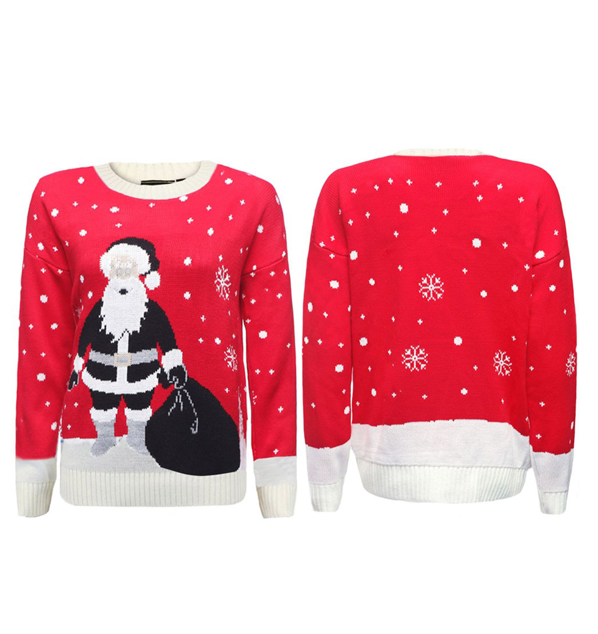 36245ecd09e Ugly Black Santa Christmas Sweater On Red - Ugly Christmas Sweaters ...
