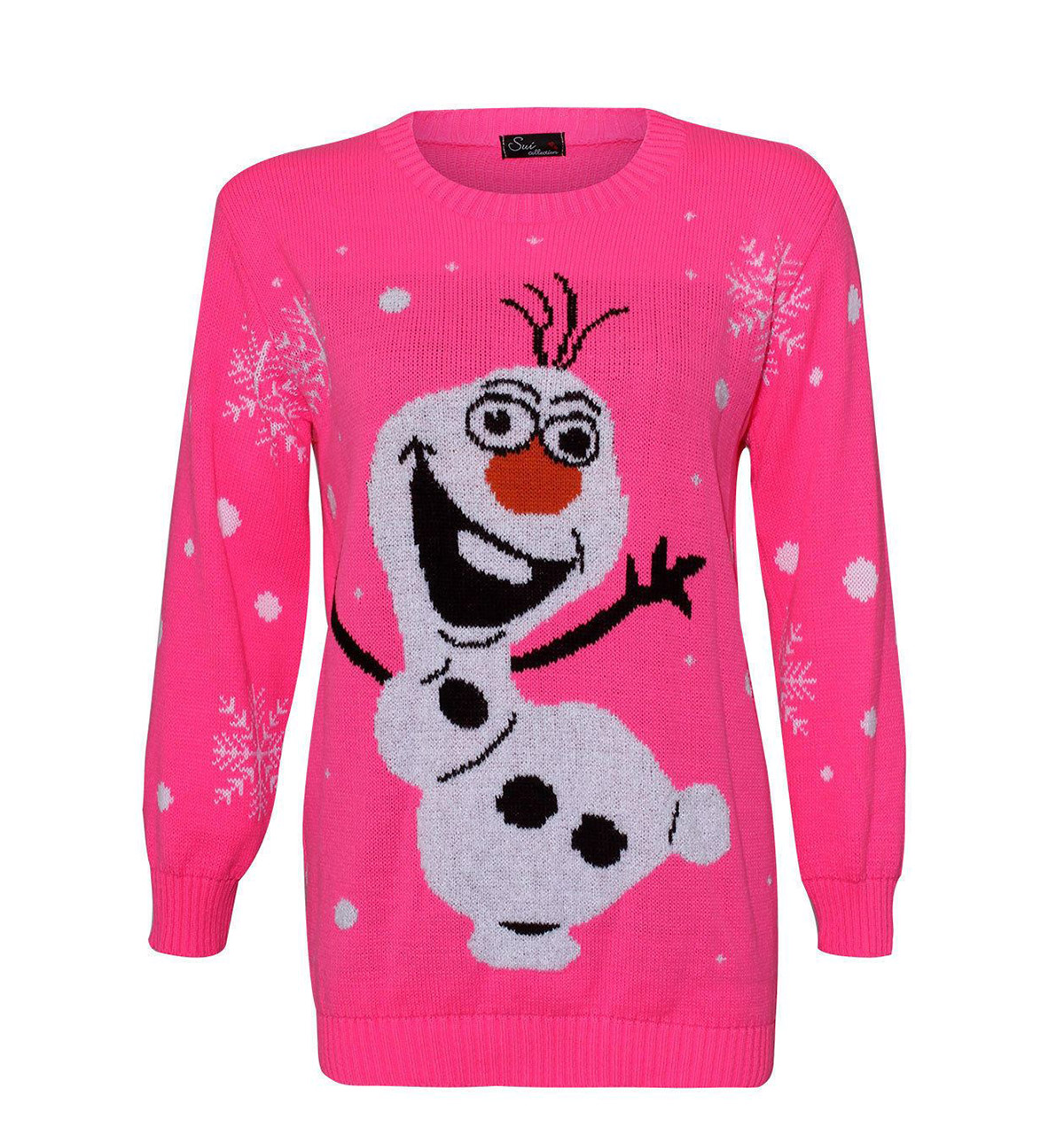 Tacky Olaf Christmas Sweater Knitted In Pink - Ugly Christmas ...