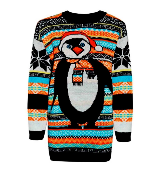 tacky christmas penguin sweater in multi colors