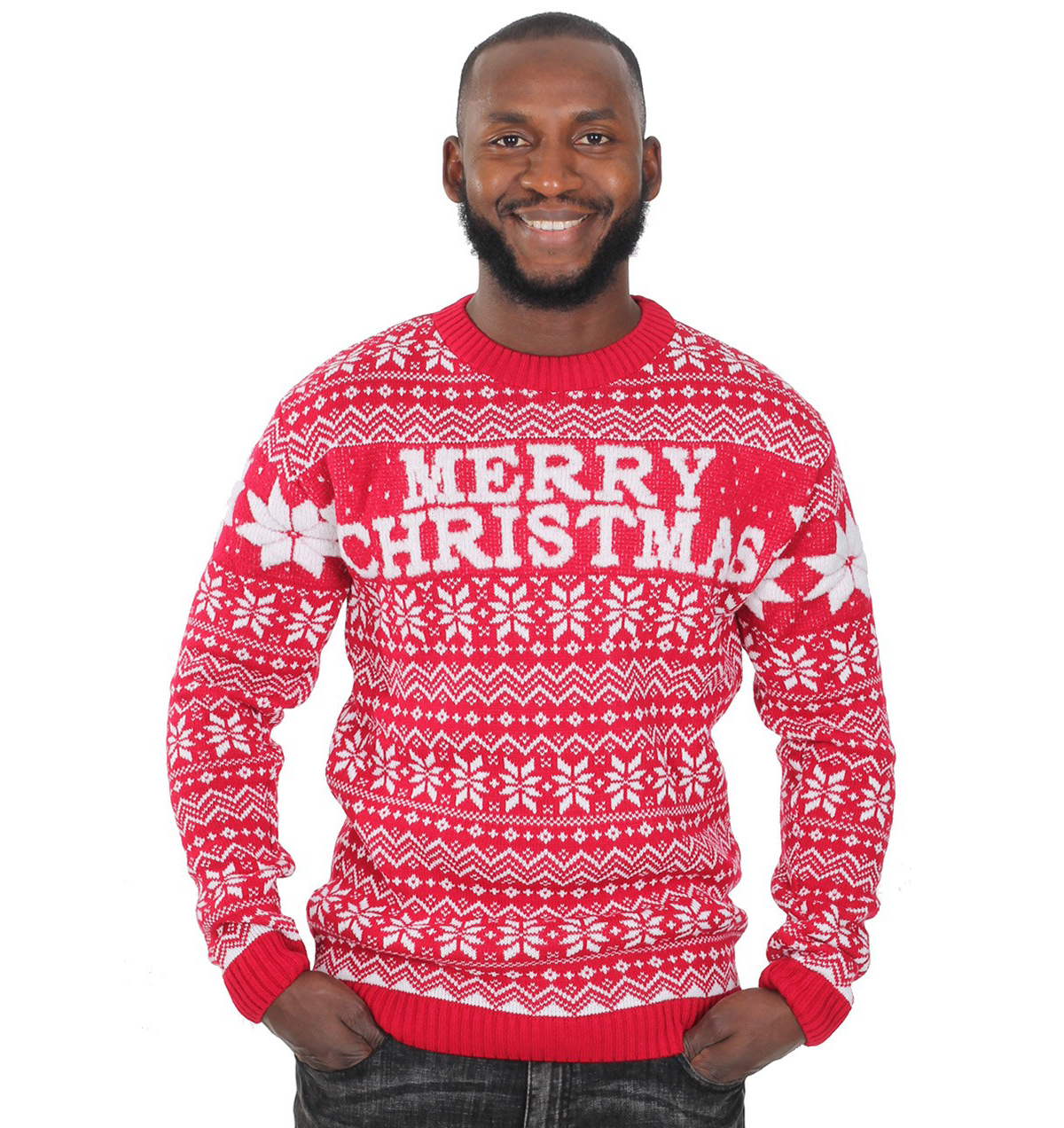 Mens Novelty Christmas Sweater In Red