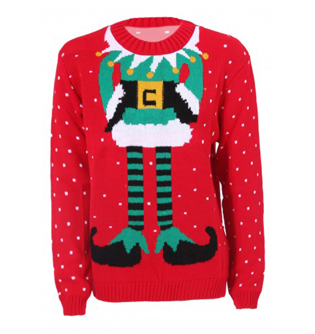 elf body ugly christmas sweaters in red - Ugly Christmas Sweater Elf