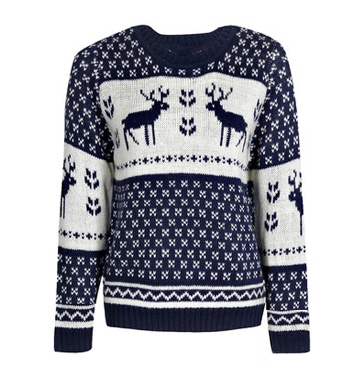 Blue And White Christmas Sweater.Christmas Novelty Reindeer Sweaters In Blue