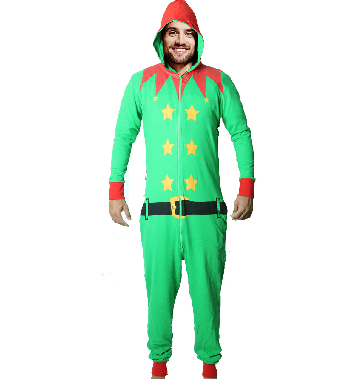 Christmas Onesies.Christmas Elf Body Hooded Onesie Jumpsuit